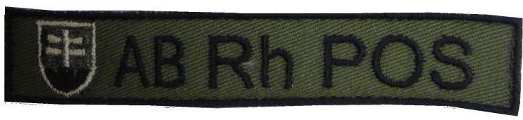 Textilná Nášivka/Patch AB POS, 10x2cm - olivová
