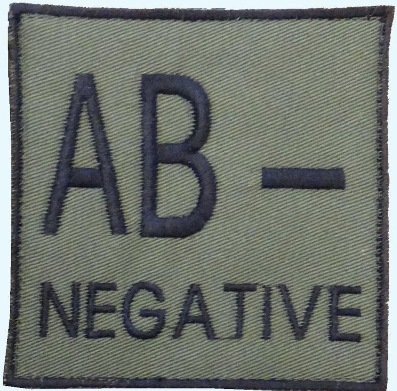 Textilná Nášivka/Patch AB NEG, 9x9cm - olivová