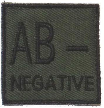Textilná Nášivka/Patch AB NEG, 4,5x4,5cm - olivová