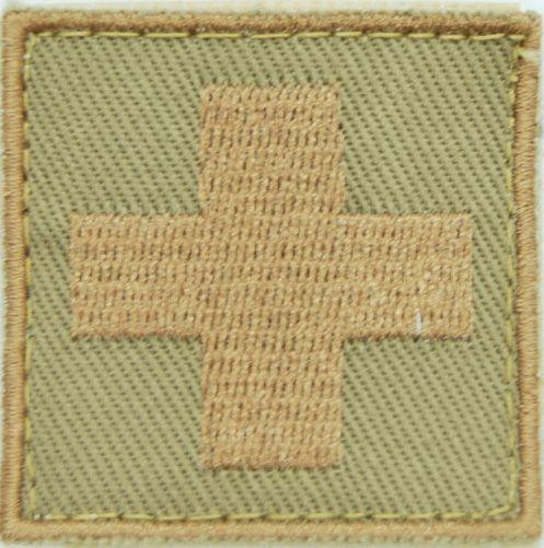 Textilná Nášivka/Patch MEDIC, 4,5x4,5cm - desert