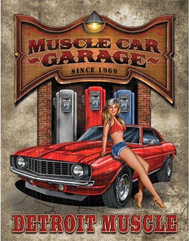 TIN SIGNS Retro plechová ceduľa Legends - Detroit Muscle Car Garage, (TSN1568)