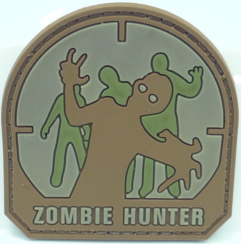 3D PVC Nášivka/Patch Zombie Hunter, 5*5cm - desert