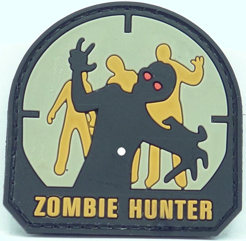 3D PVC Nášivka/Patch Zombie Hunter, 5*5cm - farebná