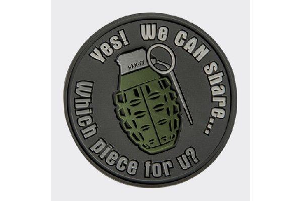 """DIRECT ACTION 3D PVC Nášivka/Patch """"WE CAN SHARE"""" Grenade - šedá, (OD-GSH-RB-19)"""