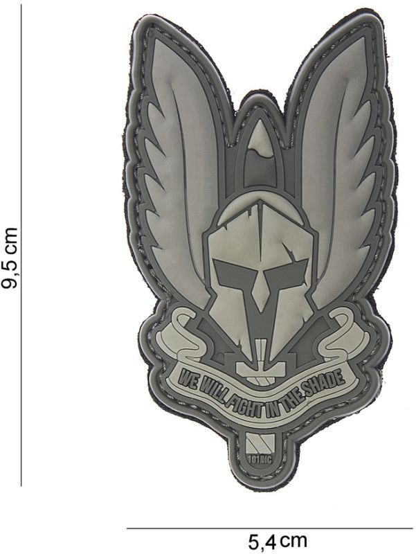3D PVC Nášivka/Patch Spartan - šedá, (444130-3819)