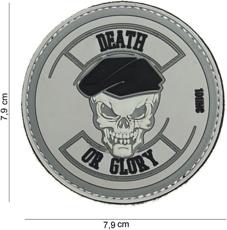 3D PVC Nášivka/Patch Death or glory - šedá, (444130-3889)