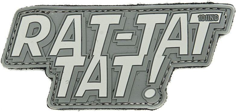3D PVC Nášivka/Patch Rat-tat tat - šedá, (444130-394899A)