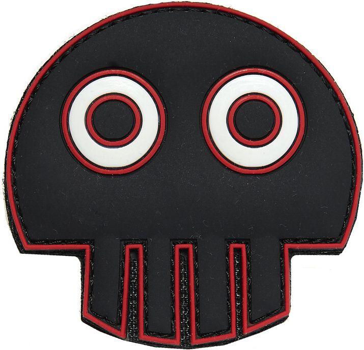 3D PVC Nášivka/Patch Big eye skull - čierna, (444130-396799A)