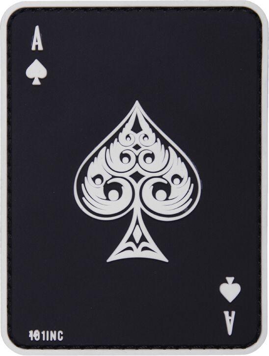 3D PVC Nášivka/Patch Ace of spades - čierna