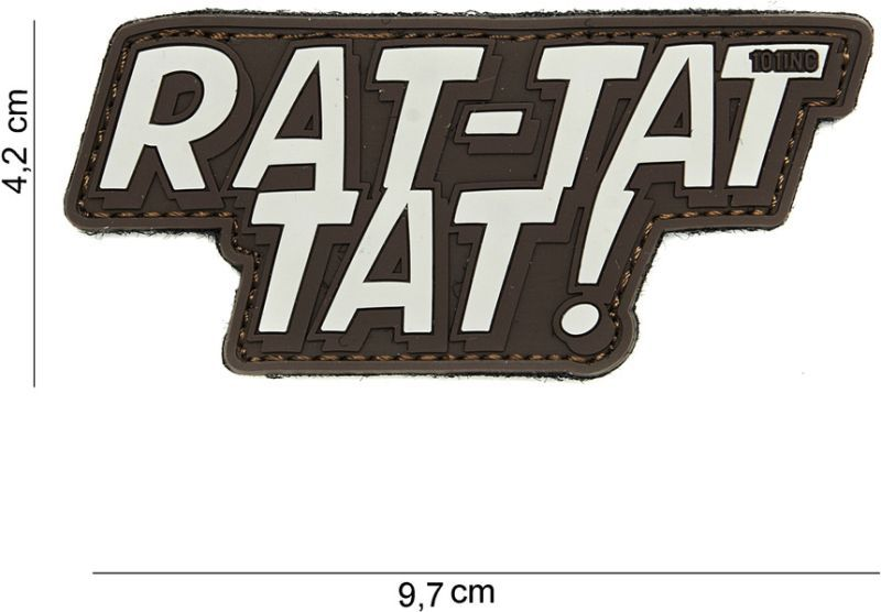 3D PVC Nášivka/Patch Rat-tat tat - hnedá, (444130-3947)