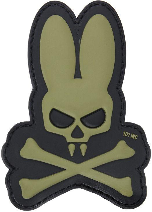 3D PVC Nášivka/Patch Skull bunny - zelená, (444130-5047)
