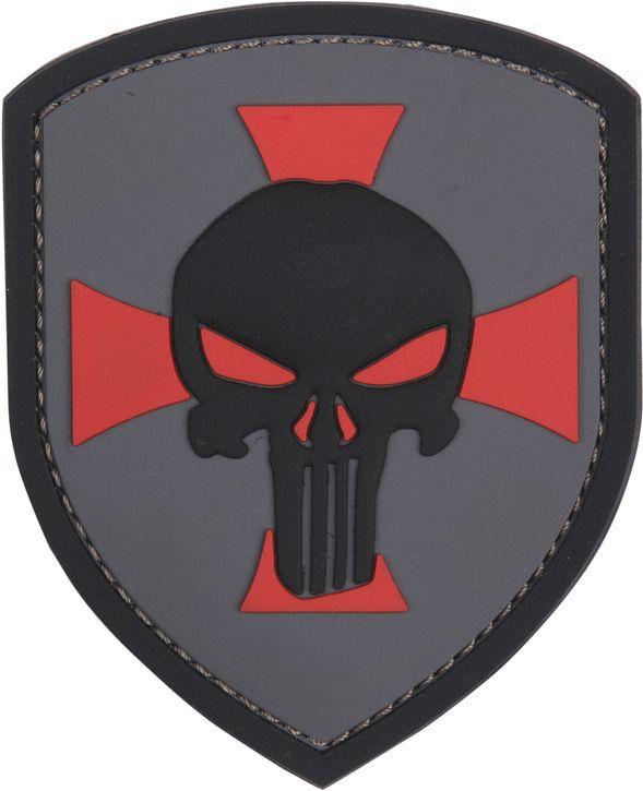 3D PVC Nášivka/Patch Punisher cross - šedá, (444130-5327)
