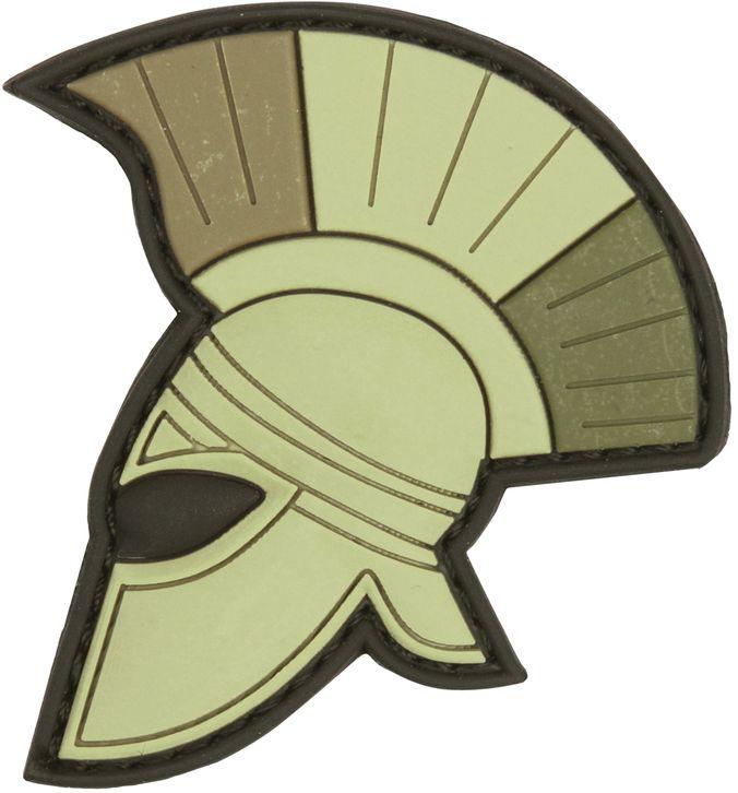 3D PVC Nášivka/Patch Spartan helmet - zelená