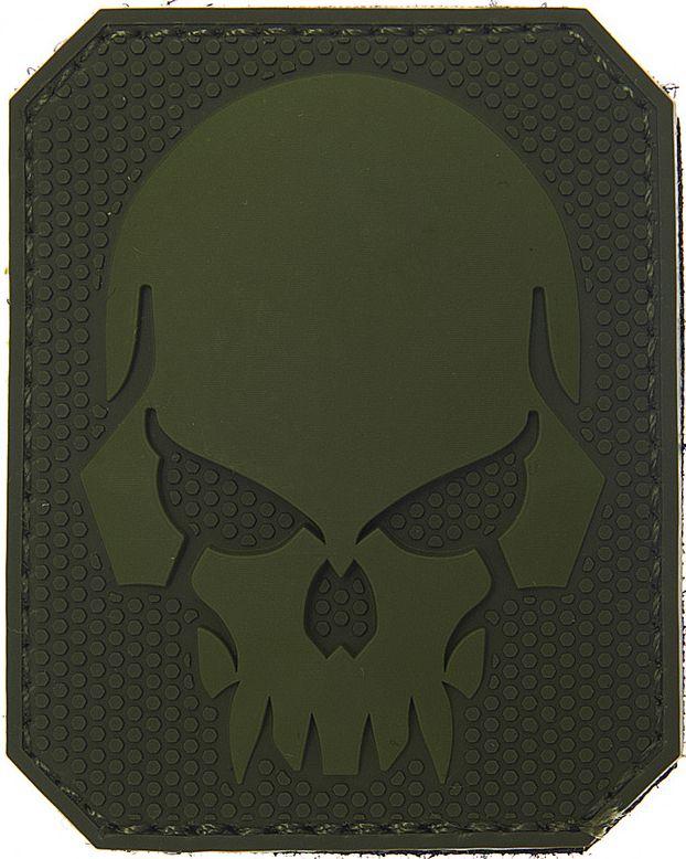 3D PVC Nášivka/Patch Pirate skull - zelená, (444150-3727)