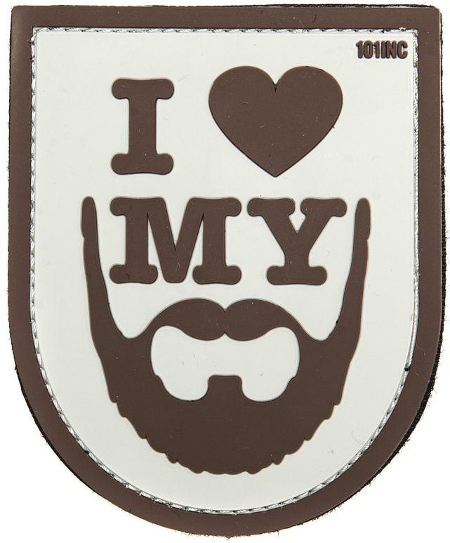 3D PVC Nášivka/Patch I love my beard - hnedá, (444180-3879)