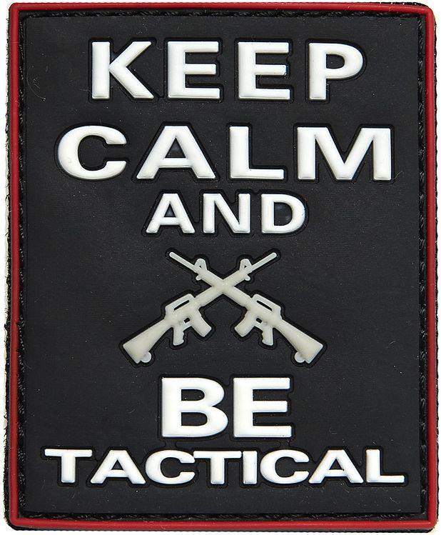 3D PVC Nášivka/Patch Keep calm and BE tactical - čierna, (444130-3960)