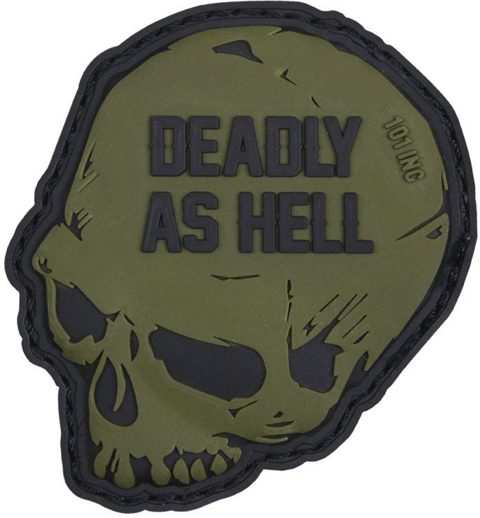 3D PVC Nášivka/Patch Deadly as hell - zelená