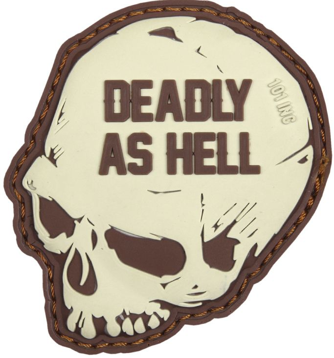 3D PVC Nášivka/Patch Deadly as hell - coyote, (444130-5125)