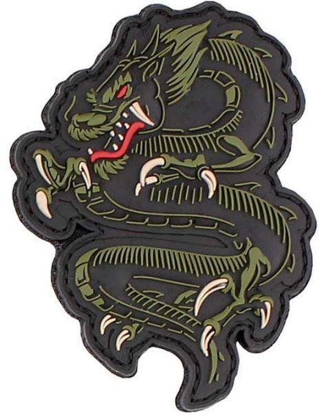 3D PVC Nášivka/Patch Dragon - zelená