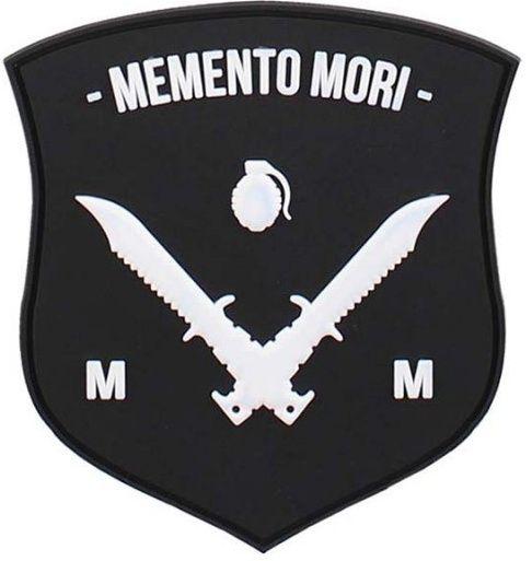 3D PVC Nášivka/Patch Memento Mori shield dagger - čierna/biela