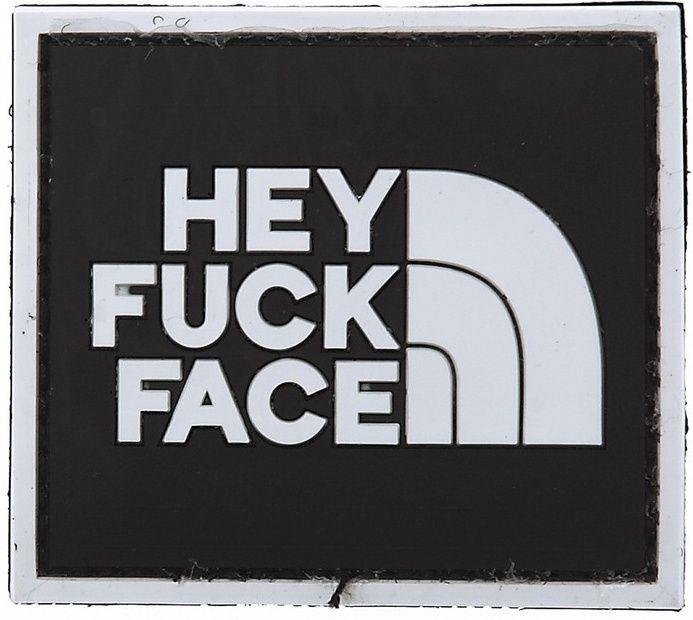 3D PVC Nášivka/Patch Hey Fuck Face - čierna, (444100-356213A)