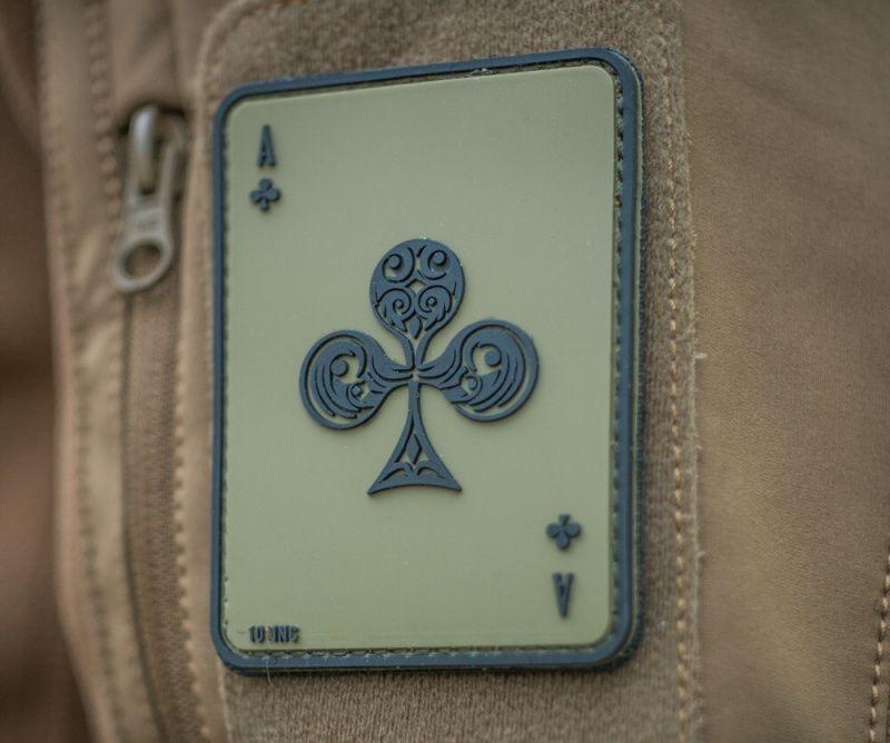 3D PVC Nášivka Ace of clubs, zelená