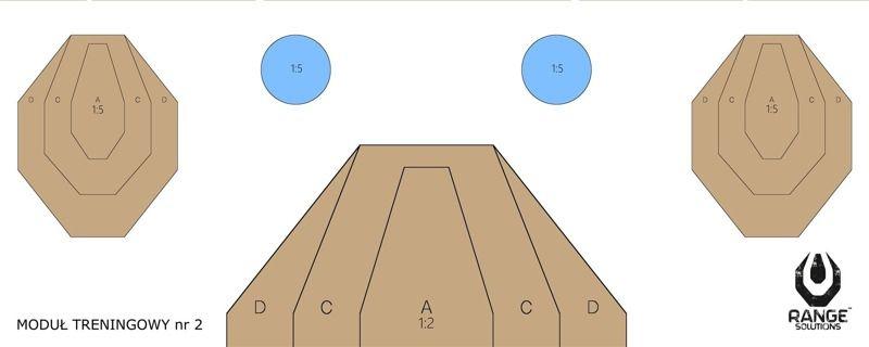 Cvičný terč Drill-2 Shooting Targets, 50 x 20 cm