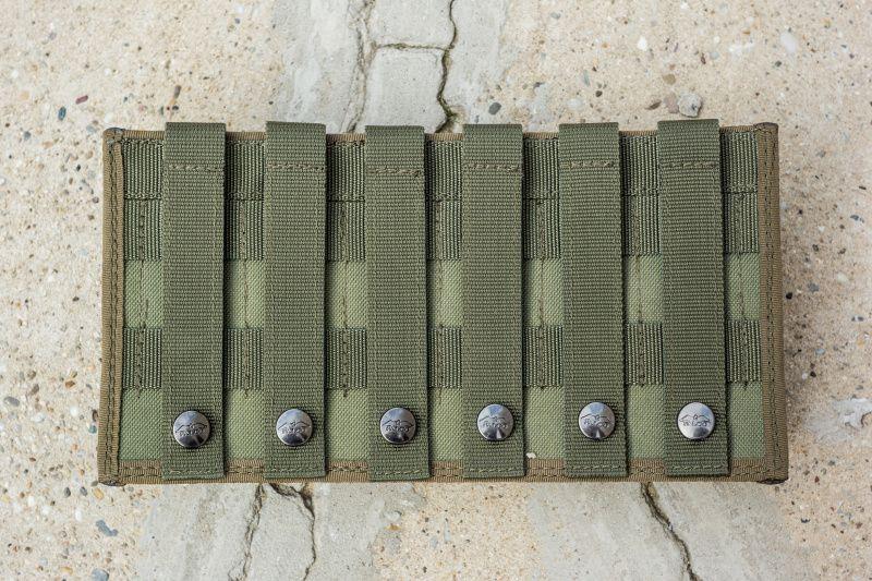 FALCO Púzdro na zásobník SA58 s vnútornými svorkami, 3 vedľa seba, MOLLE - zelené, (51032/3)