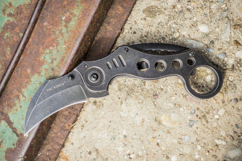 TAC FORCE Zatvárací nôž Speedster Karambit, Stonewash A/O, (TF578SW)