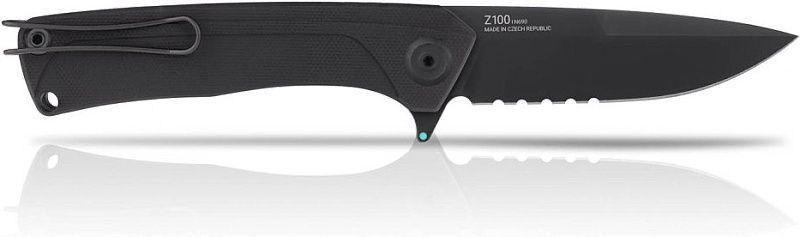 ANVKnives Zatvárací nôž Z100 Sleipner/G10 DLC, zúbkovaný - čierny (ANVZ100-038)